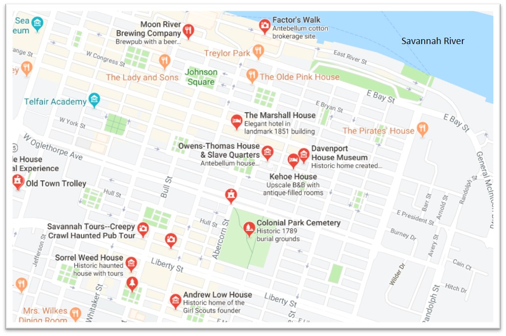 Map showing haunted locations in Savannah, GA