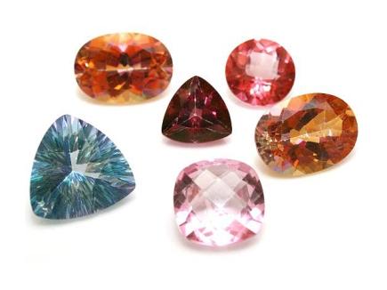 Facet cut topaz gemstones in various colors, Wikipedia