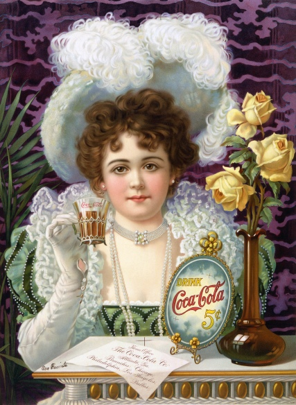 Victorian woman drinking Cocacola-5cents 1890 Wikimedia
