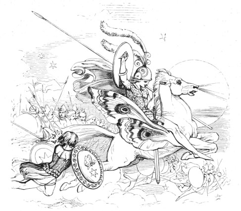A fairy army, as illustrated by Sir J. Noel Paton, from Midsummer Eve by Mrs. S. C. Hall (published in 1870; reprinted, according to the preface, from The Art-Journal of 1847).