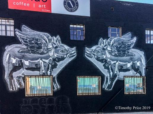 Hog Heaven flying pigs mural Tim Price