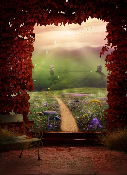 Landscape path red-leaves fantasy DarkWorkX Pixabay