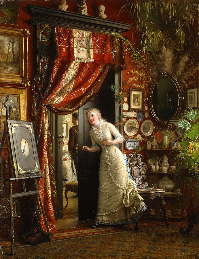 Victorian woman Eavesdropping Knut_Ekwall-Frieriet