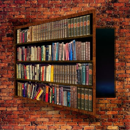 bookcase Scred Passage Door bricks Pixabay