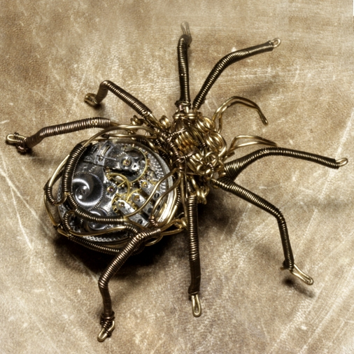 Steampunk Clockwork Spider Brass and Copper Wire Sculpture made by Daniel Proulx