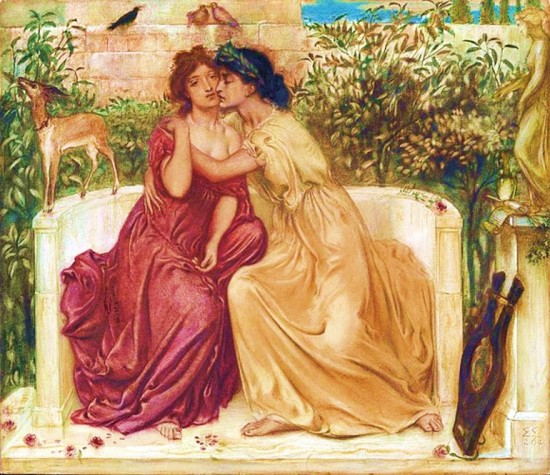 Sappho and Erinna in a Garden at Mytilene, Simeon Solomon 1864, Wikipedia