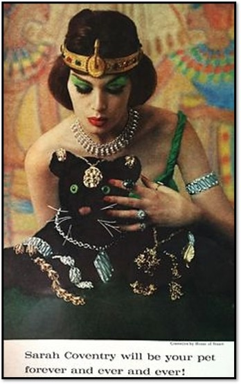 1961 ad for Sarah Coventry costume jewelry, featuring Egyptian theme