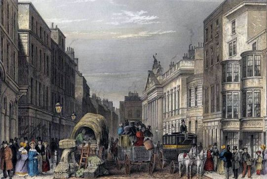 Leadenhall Street London 1837, street scene engraving by J Hopkins, Wikipedia