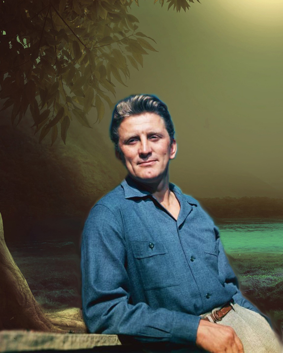Kirk Douglas as Blue John. Composite public domain and free images, tomfoolery by Teagan