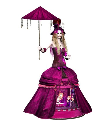 PINK Steampunk girl umbrella-2 facing Ractapopulous Pixabay