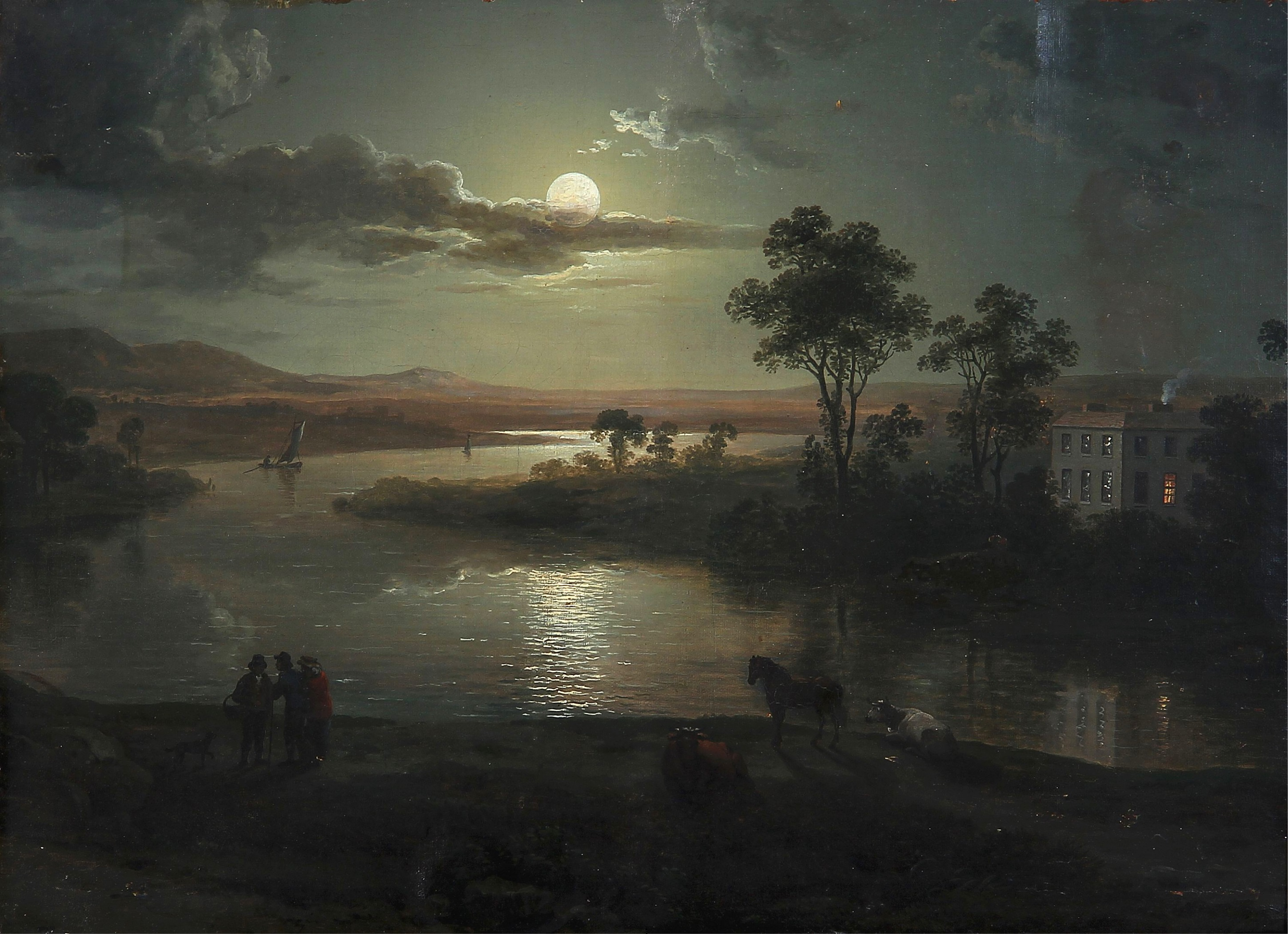 Abraham Pether - Evening scene with full moon and persons (1801