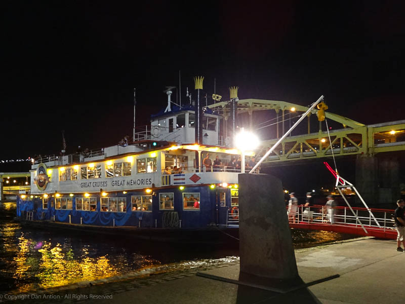 Riverboat docked night lights Dan Antion