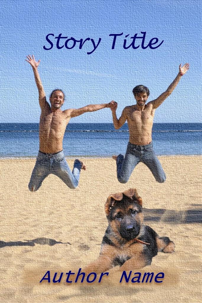 Group II. Men, Beach, GSD Puppy