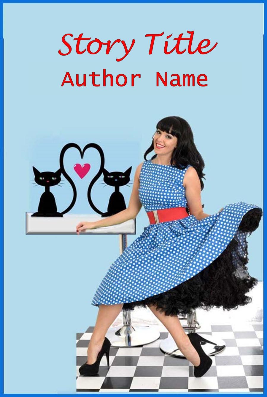 Group I. Girl, Blue Polka Dot Dress, cats, Whimsical