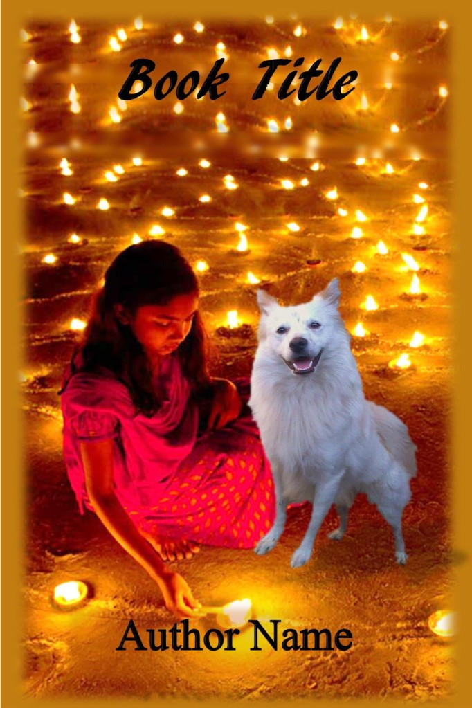 Group I. Girl, Indian Spitz Dog, Diwali, Candles