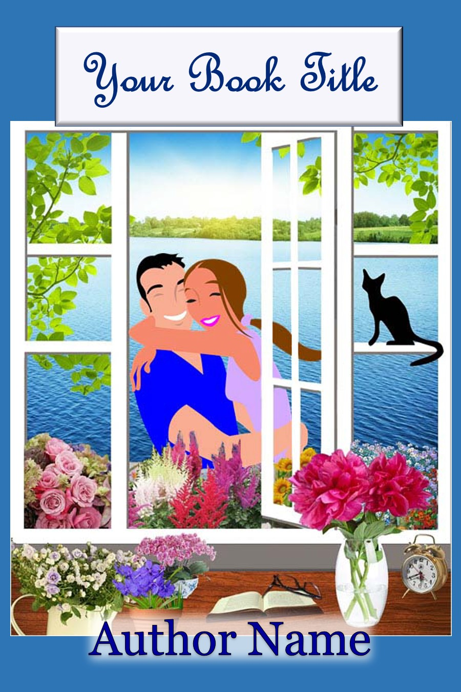 Couple, Window, Lake, Cat, Whimsical, Romance
