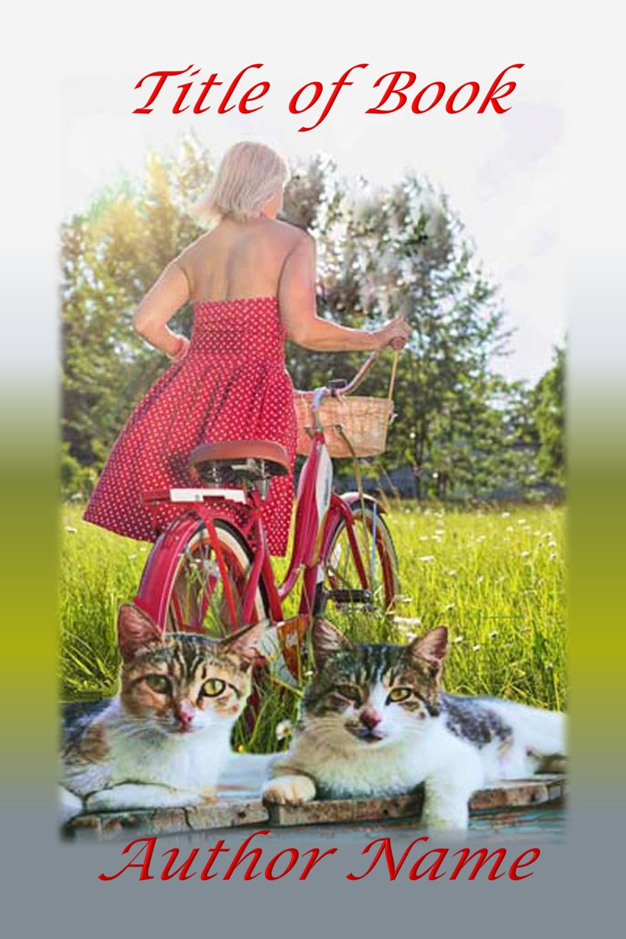 Group I. Woman, Vintage Bicycle, Cats