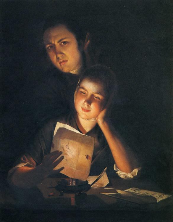 Girl_Reading_Letter_by_Candlelight,_With_Man_Peering_over_Her_Shoulder Joseph_Wright 1760-62 Wikipedia