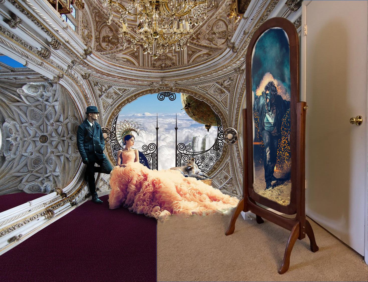 Faiths cheval mirror with steampunk