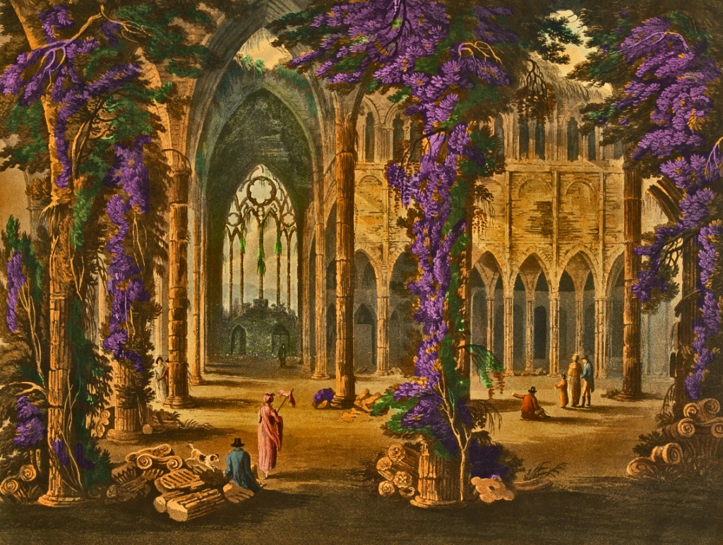 Tintern Abbey, South Window, by Frederick Calvert, 1815. Color tomfoolery by Teagan