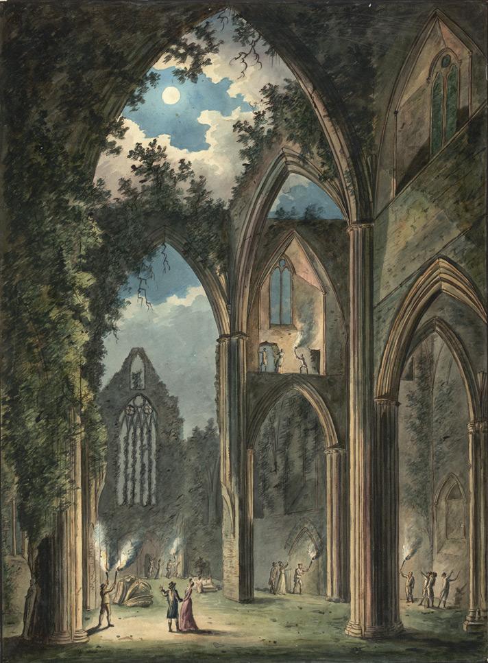Interior Tintern Abbey Ruin moonlight Peter van Lerberghe 1812 Wikipedia